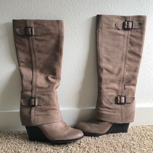 Vince Camuto Leather Wedge Boots *NWOT*
